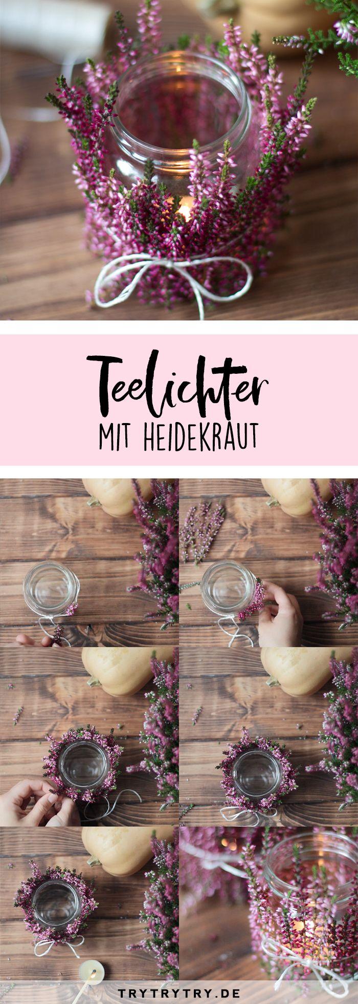 DIY Herbstdeko - Teelichter mit Heidekraut. Super einfache Bastelanleitung für den Herbst, zum Beispiel als Tischdeko #herbstdekotisch