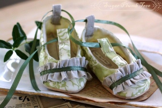 Green Damask baby shoes with a ruffle and t-strap