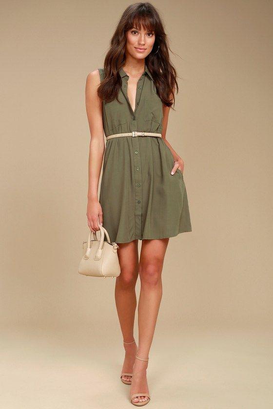d1363d980d Look Into Your Heart Olive Green Sleeveless Shirt Dress 2
