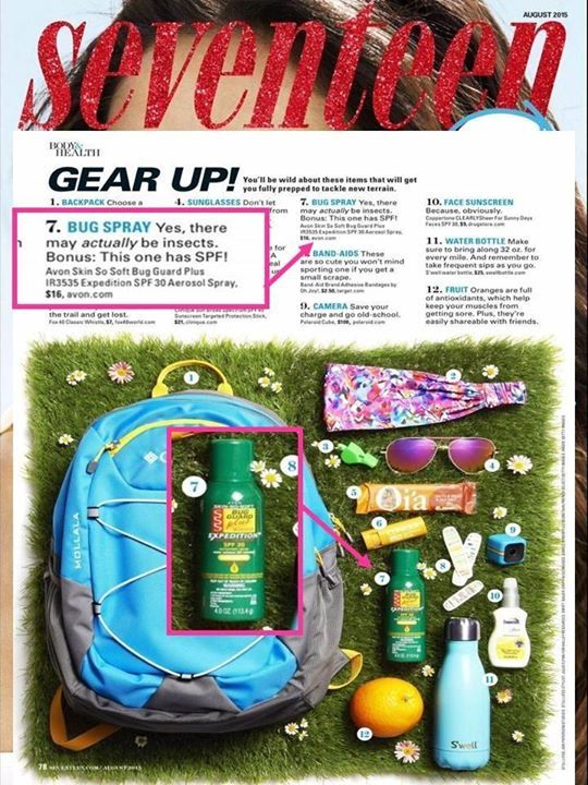Summer Calls for Bug Guard! Seventeen Magazine featured our customer-favorite Skin-So-Soft Bug Guard Plus Expedition as a summer must have! Get yours at www.deannasbeautyshop.com #avon #bugguard #bugspray #seventeen #seventeenmagazine