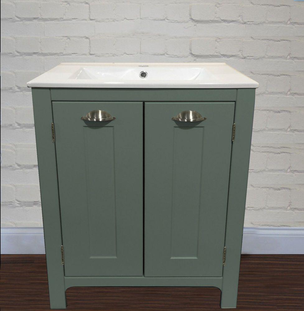 Bathroom Vanity Unit 600W Satin Fossil Wash Stand Cabinet Ceramic Sink