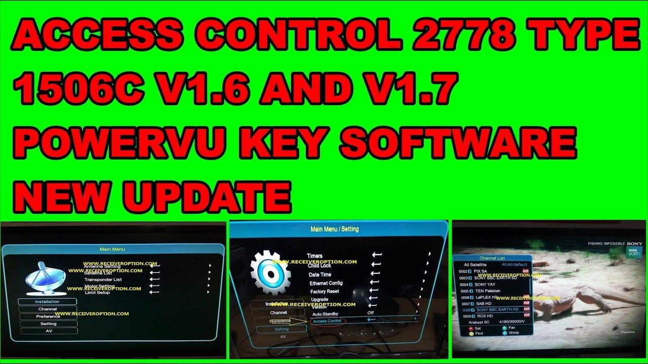 ACCESS CONTROL 2778 TYPE 1506C V1 6 AND V1 7 POWERVU KEY SOFTWARE