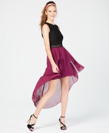 2a223cbd9cc City Studios Juniors  Colorblocked High-Low Dress - Black Purple 1 ...