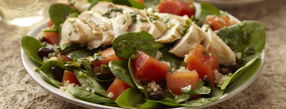 Papaya Quinoa Grilled Chicken Salad