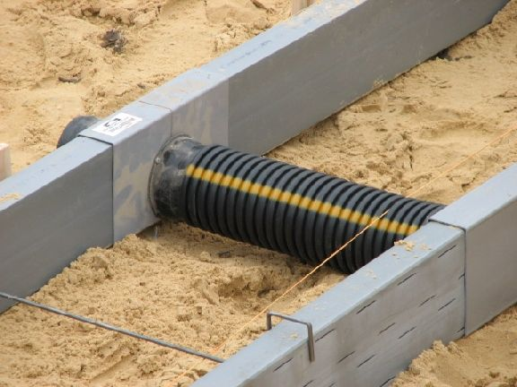 Foundation Drain System : Form a drain foundation drainage system connecting the