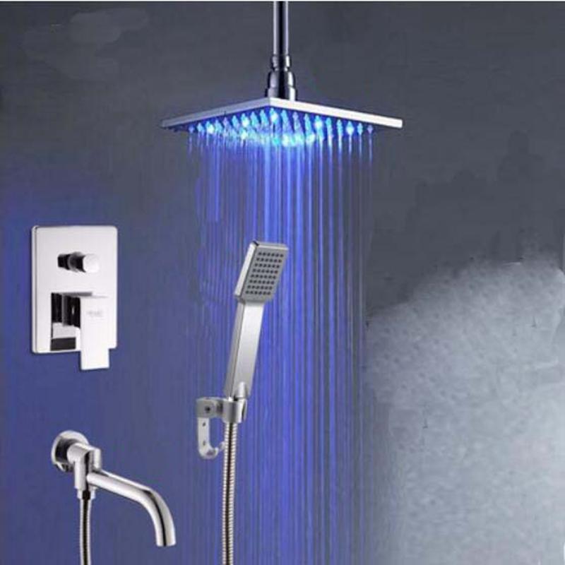 "98.67$  Buy now - ""Chrome Ceiling Mounted 8"""" LED Shower Faucet Hand Shower Sprayer Tub Spout Set Mixer Tap""  #buyonline"