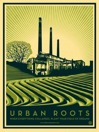 "Shepard Fairey's poster for the documentary, ""Urban Roots"" which follows the Urban Farming movement in Detroit. ""Urban Roots is a timely, moving and inspiring film that speaks to a nation grappling with collapsed industrial towns and the need to forge a sustainable and prosperous future."" http://www.urbanrootsamerica.com/urbanrootsamerica.com/Home.html"