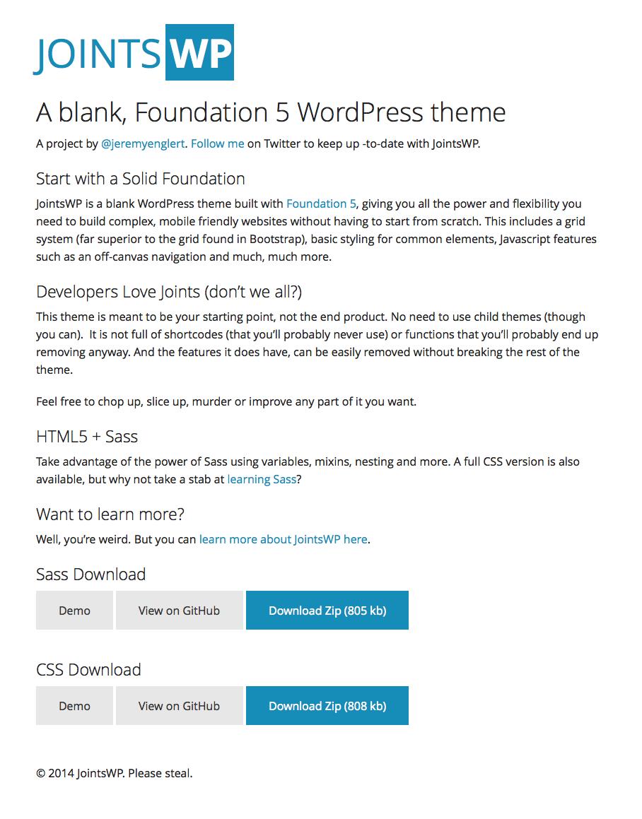 JOINTS WP - A blank, Foundation 5 WordPress theme | Responsive ...