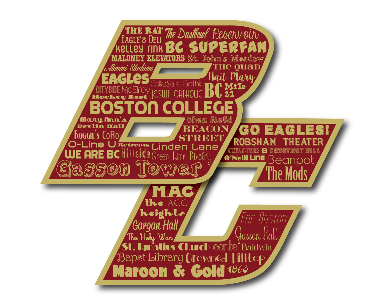 "Original artwork using words to describe ""BOSTON COLLEGE"" -- Show off your Eagles pride in your home/dorm room/office with this print that details the many words for all things Maroon & Gold like Chestnut Hill, Gasson, Beanpot, and more. Come visit the Lexicon Delight Etsy store!"