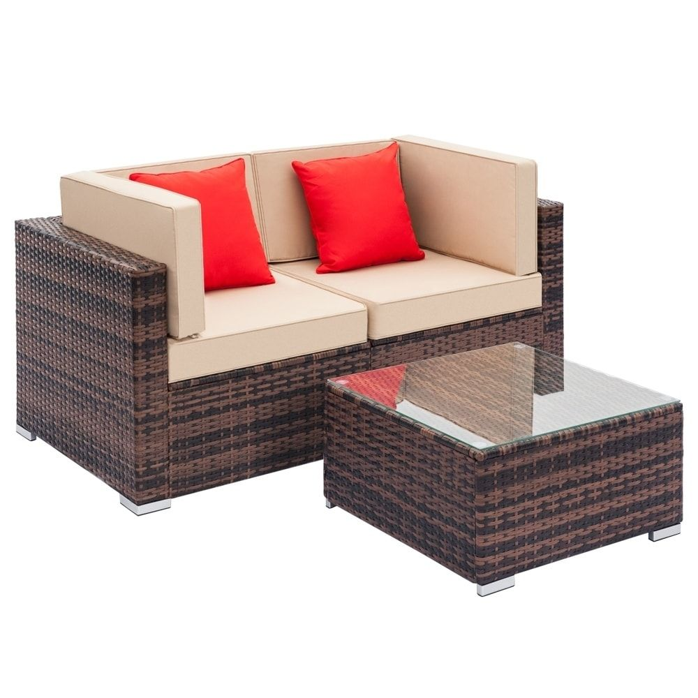 Fully Equipped Weaving Rattan Sofa Set With 2pcs Corner Sofas 1 Pcs Brown Liveditor Resin Wicker Outdoor Seating In 2020 Sectional Patio Furniture Outdoor Sofa Sofa Set
