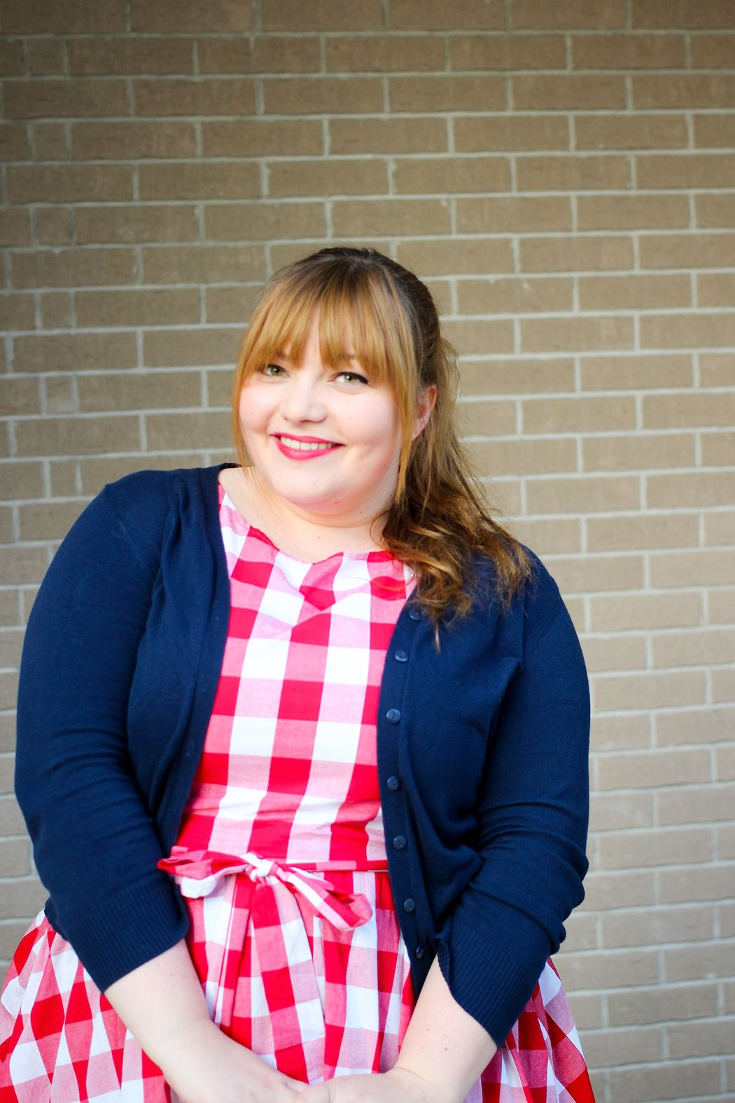 Plus Size Outfit by kathastrophal.de // wearing the 'Audrey' Red Check Swing Dress by Lindy Bop and tan cowboy boots