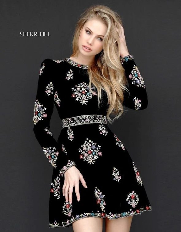 2020 Women Fashion floral embroidered cocktail dress gold flower dress