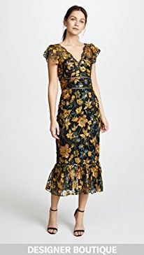 New Marchesa Notte Embroidered Cocktail Dress with Flutter Sleeves online.  Enjoy the absolute best in