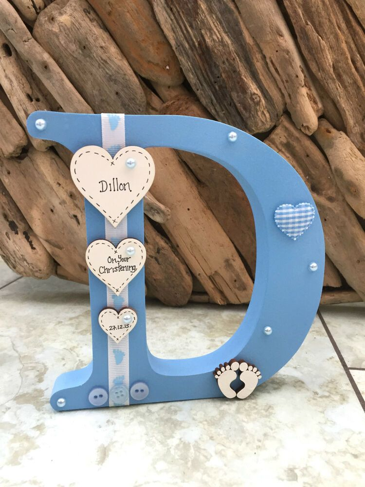 Personalised Freestanding Wooden Letter New Baby Girl Boy Christening Keepsake