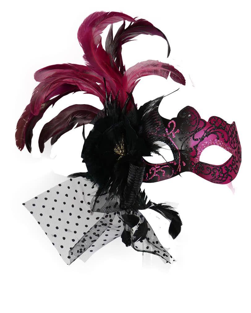 Venezianische Augenmaske mit Federn Pink Federmasken