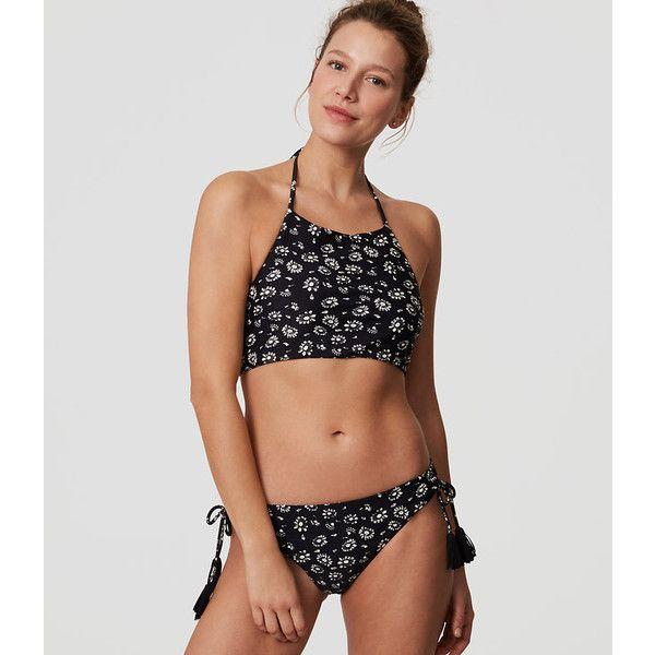 d023ead6394b4 LOFT Beach Petal Reversible Halter Bikini Top ($50) ❤ liked on Polyvore  featuring swimwear, bikinis, bikini tops, black, beach bikini, halter  tankini tops, ...