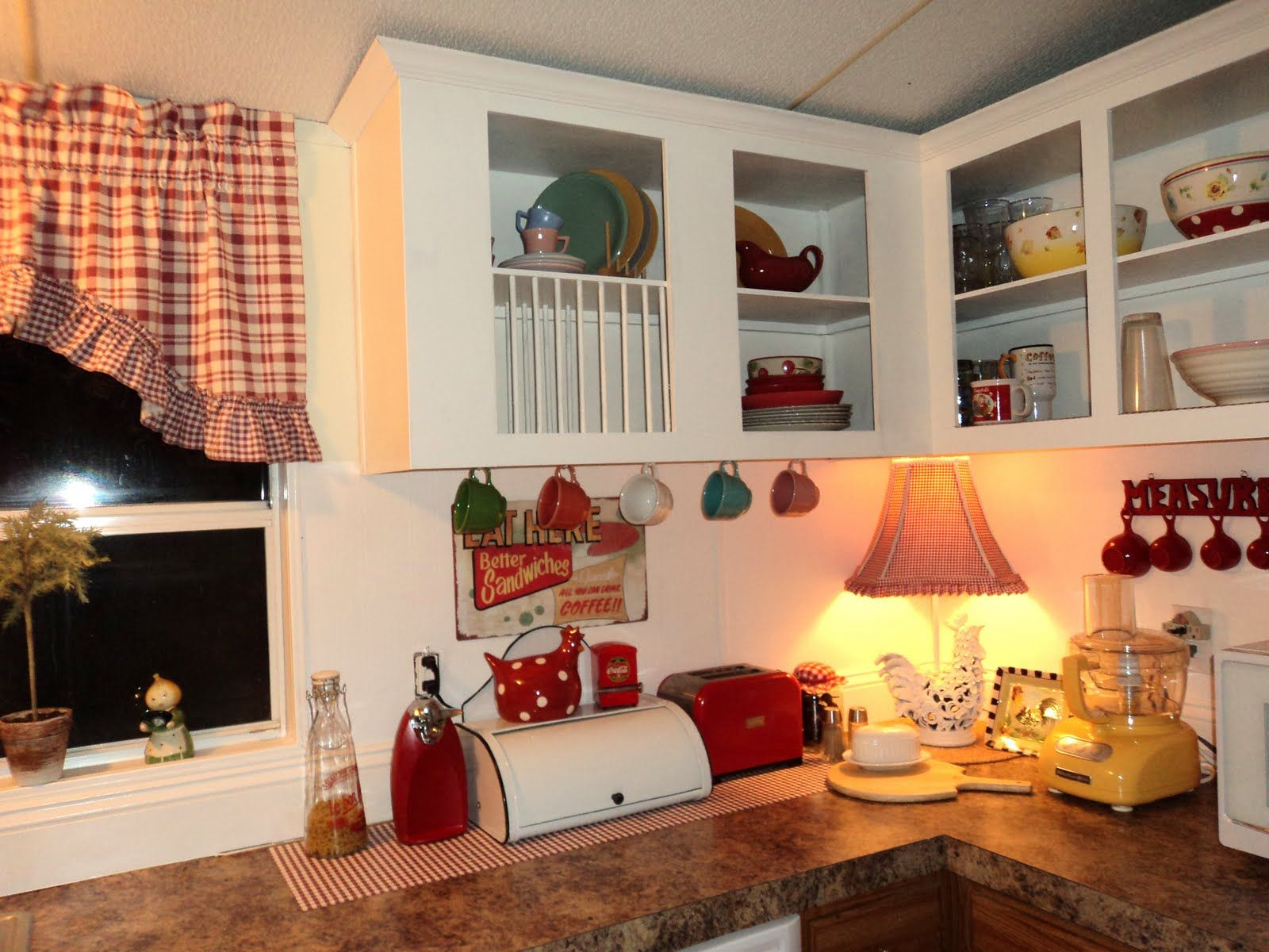 Mobile home interior ideas love the red accents and all the vintage accessories  dated bread