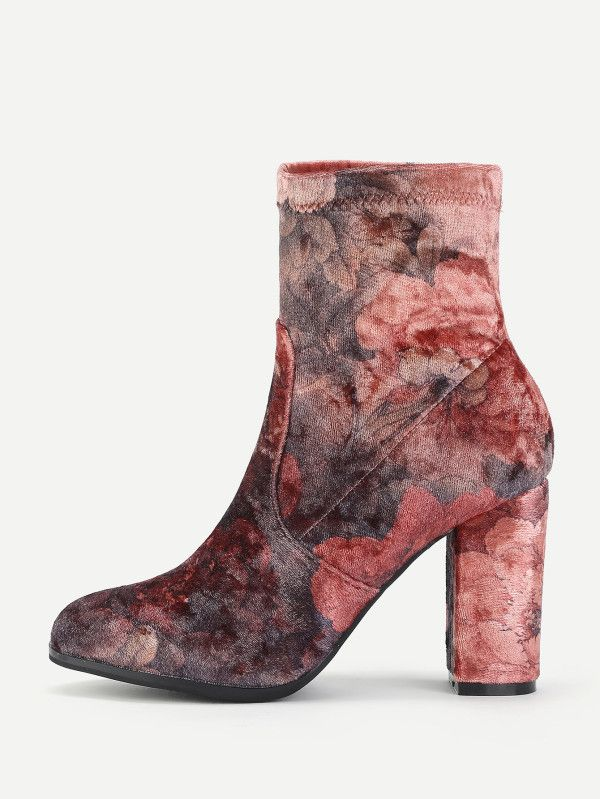 Flower Print Block Heeled Ankle Boots -SheIn(Sheinside)