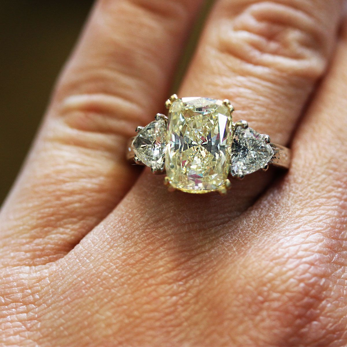 4.45ct Fancy Yellow Cushion Cut Diamond Engagement Ring with GIA ...