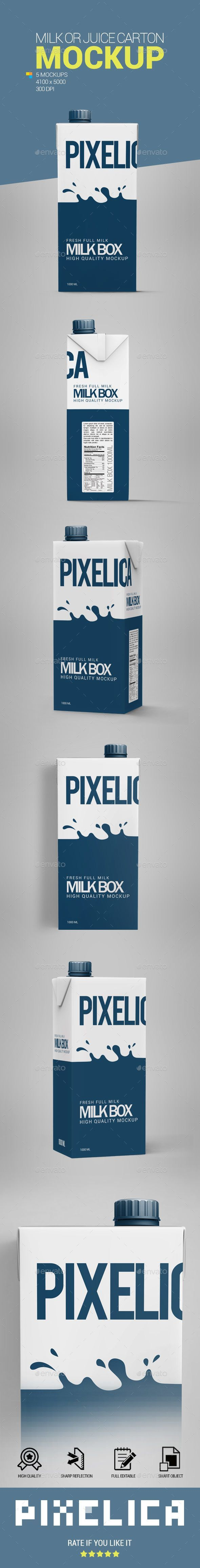 Milk or Juice Carton Mockup - Food and Drink Packaging  Download link: graphicri... -