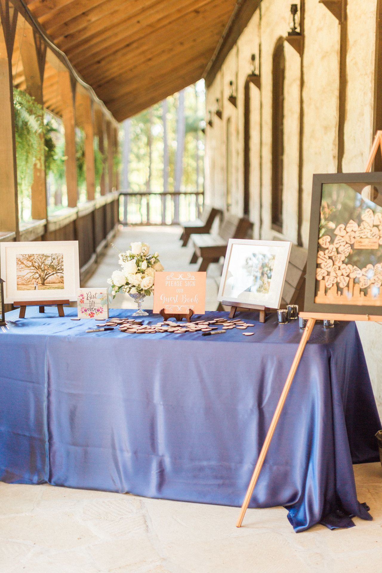 Wedding decoration ideas blue and white  wedding guest book welcome table  modern rustic wedding decorations