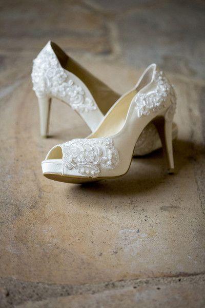 13ce1e10298d53 White bridal shoe idea - peep-toe heels with lace + beaded appliqués  David  Lynn Photography