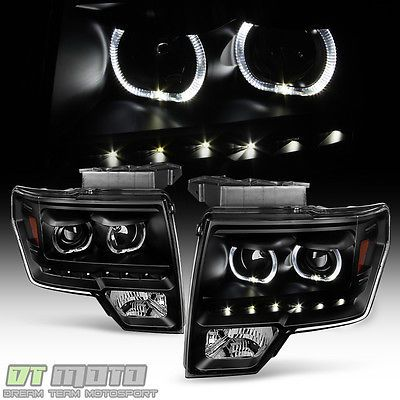 Black 2009-2014 Ford F150 SMD LED Halo Projector Headlights Headlamps Left+Right
