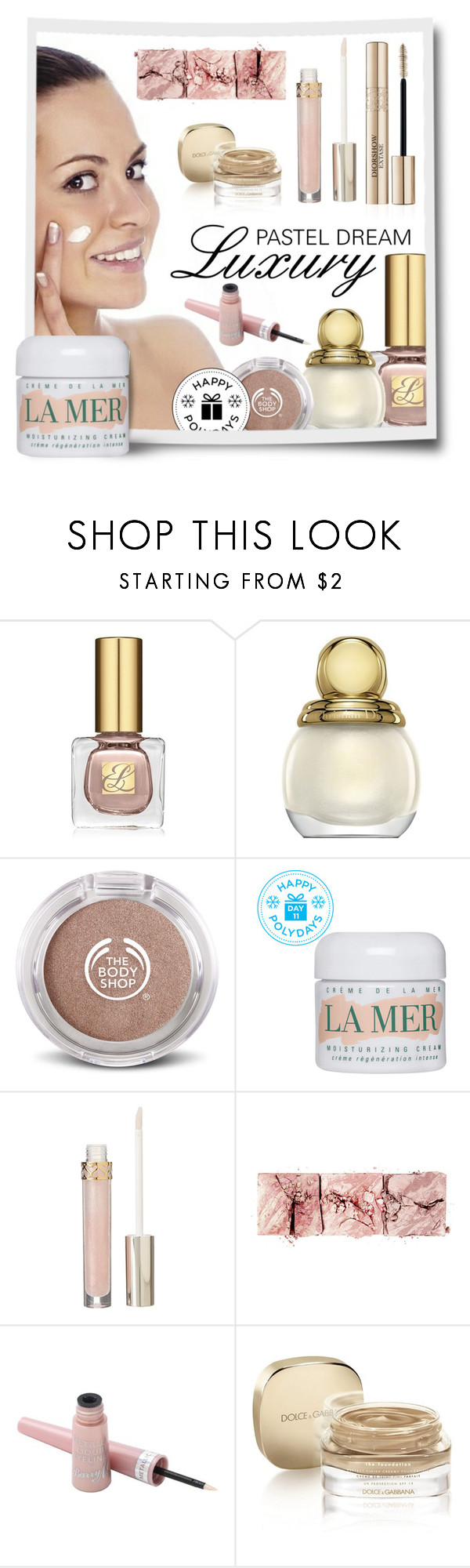 """""""Luxury Pastel Dream"""" by crapiblogabout ❤ liked on Polyvore featuring beauty, Estée Lauder, Christian Dior, The Body Shop, La Mer, Stila, Hourglass Cosmetics, Barry M, Dolce&Gabbana and makeup"""