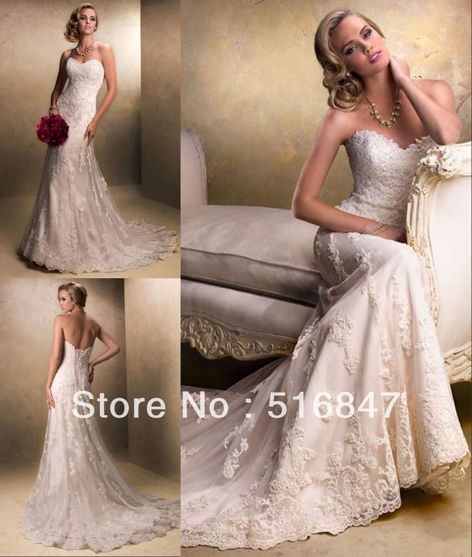 Stock New Style Ivory/white Long Tulle Strapless Applique Mermaid ...