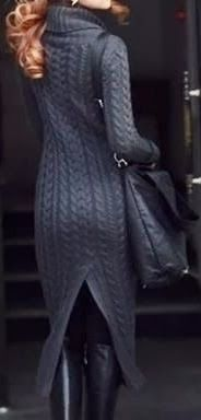 Beautiful cable knit sweater dress rich with deep slate grey tones  stunning back leg detailing. Long  lean best wears this one ...