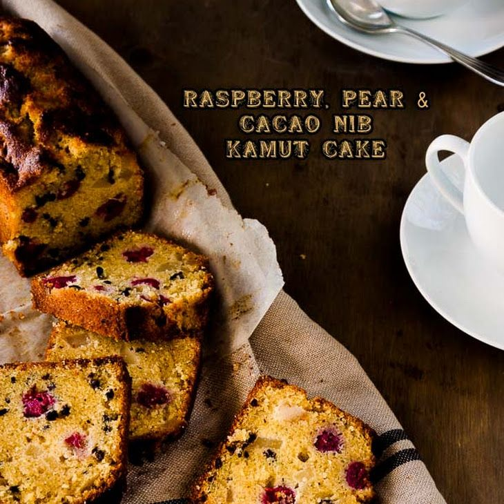 Raspberry, Pear and Cacao Nib Kamut Cake Recipe Desserts with kamut flour, almond meal, sugar, baking powder, salt, large eggs, unsalted butter, cacao nibs, pears, raspberries