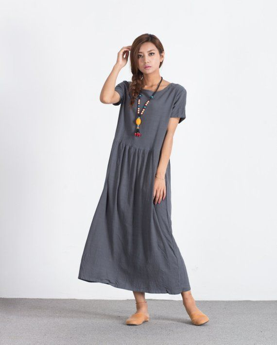 31cdee8b84d7 Women's long maxi dress Oversize linen dress Loose cotton caftan plus size  clothing linen kaftan lar