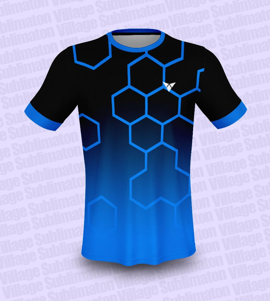 Download Hey Check This Black And Blue Hexagon Football Jersey Design Rs 150 00 Https Buyjerseydesign Com Ind Jersey Design Sports Tshirt Designs Football Jerseys