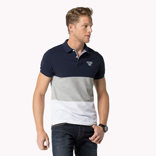 3e36a5878e7c2 Tommy Hilfiger Sid Slim Fit Polo - navy blazer-pt   cloud htr   classic whi  - Tommy Hilfiger Polos - main image