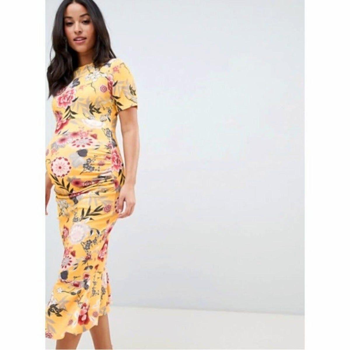 Queen B Mutterschaft Gelbes Kleid Mit Blumen in 2020 ...