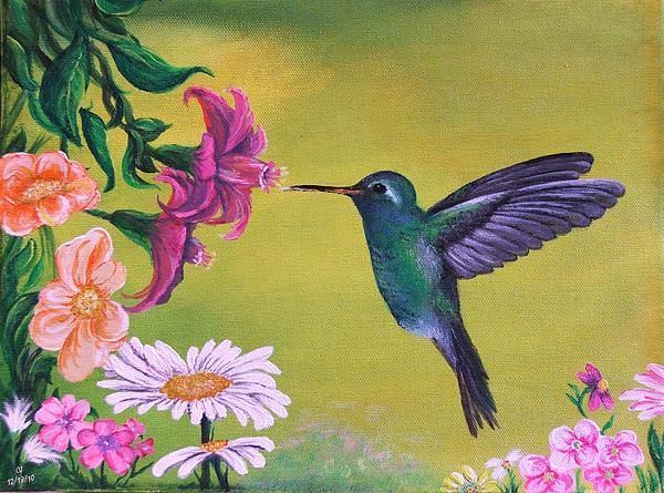Hummingbird For Grandma - Painting by Cj | Hummingbird ...