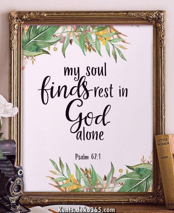 Kunst des Schreibens pro Jugendliche, Kopie jener Wandkunst aufwärts jener Heilige Schrift, christliche Wandkunst, meine Seele findet Ruhe, Bibelzitat, Christian druckbar, Psalm 62: 1 BD-971