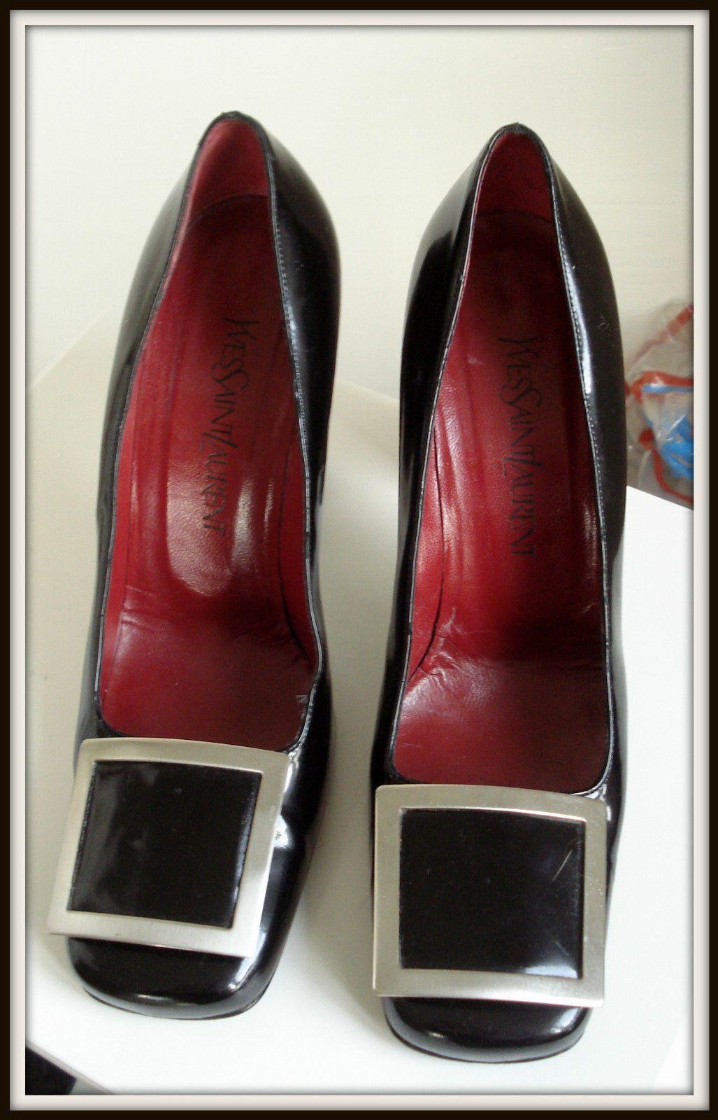 Gauche Noir Escarpins St Cuir Laurent Shoes Rive Superbe 5 Yves 40 nw80OPk
