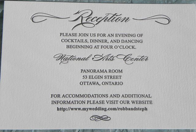 Letterpress Reception Card Lettra Wedding Reception
