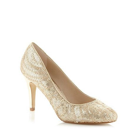 Debut Gold sequin court shoes- at Debenhams.com