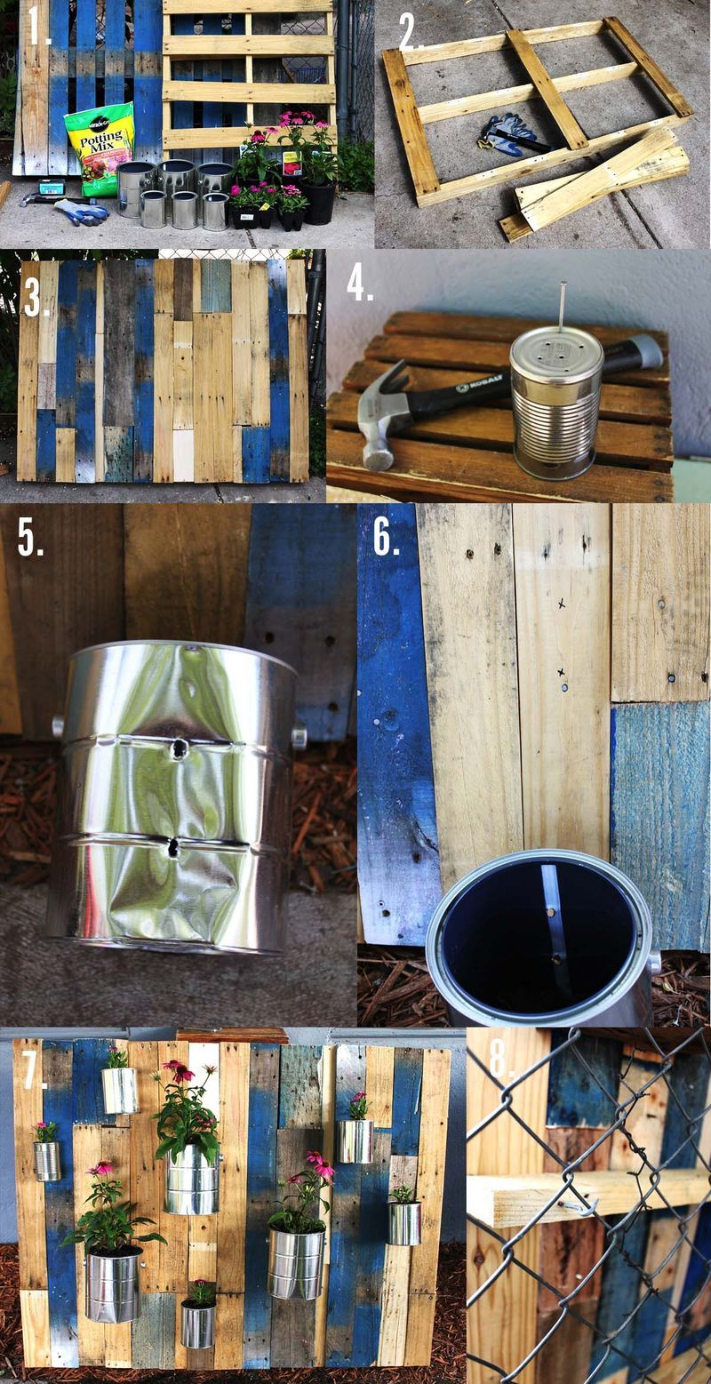 Vertical recycled pallet garden with repurposed tin cans wall art