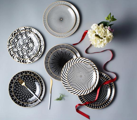 6pcs 8 10 Inch Tableware Phnom Penh Geometry Tableware Ceramic Dinner Plate Dish Porcelain Dessert Tableware Ceramic Dinnerware Set Plates