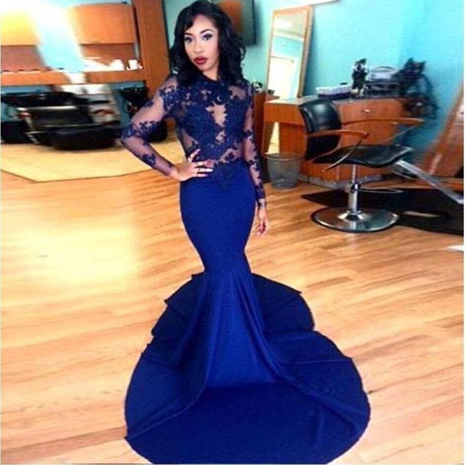 Long evening dress prom dresses sheer oneck applique long