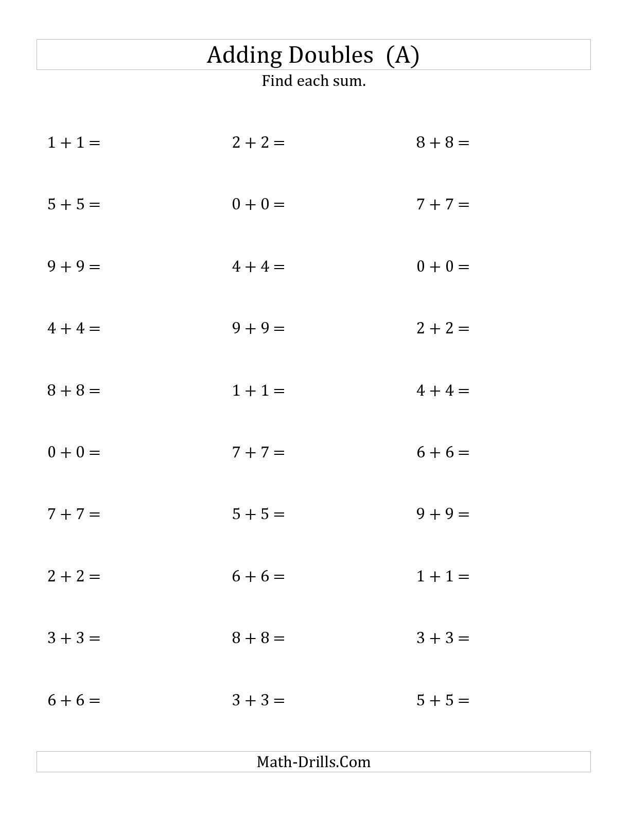 Adding Rational Numbers Worksheets The Adding Doubles