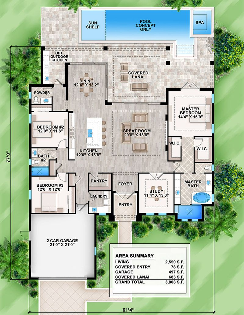 House Plan 207 00061 Florida Plan 2 550 Square Feet 3 Bedrooms 2 5 Bathrooms Florida House Plans Lake House Plans House Plans