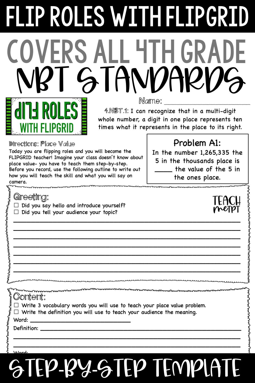 Flip Roles All 4th Grade NBT Bundle in 2020   Elementary math teacher [ 1500 x 1000 Pixel ]