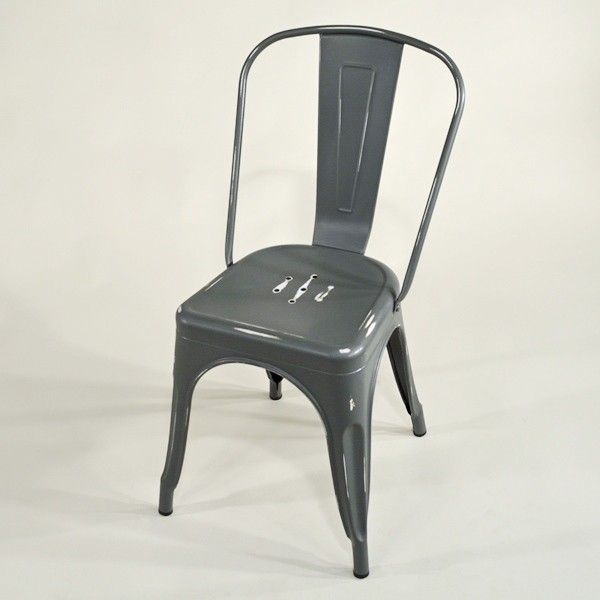 Metall Stuhl Grey Vintage Grau Matt Used Look Metal Chair Grey