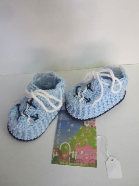 Crochet botitas de bebé náutica de botines de bebé niño bebé