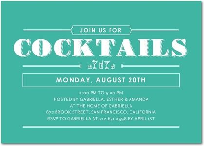 cocktail splash corporate event invitations in bay petite alma