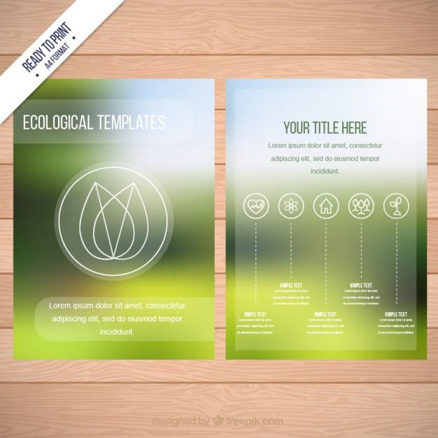 Ecological Flyer Template On Blurred Background Free Vector